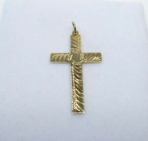 9ct Gold Cross Pendant Vintage Patterned Religious Yellow Gold with gift box.