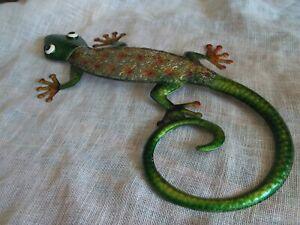 """Colorful Metal Lizard Gecko Wall Art Sculpture 23"""" Tall Green, Orange Googly Eye"""