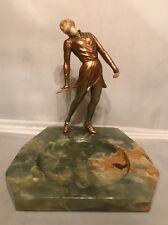 Rare! Antique Art Deco 20's J.B.Hirsch Gerdago Pixie Lady on Onyx Trinket Tray