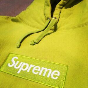 Supreme Acid Green Box Logo Hooded Sweatshirt Pullover FW12 Large
