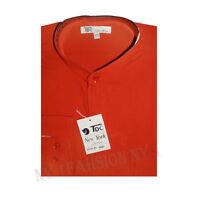 Mens' mandarin collar ( banded collar) dress shirt Red color All Sizes # SG01