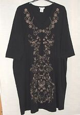 NEW Ulla Popken Lavishly Embroidered Black Shift Dress  Size UK 24/26