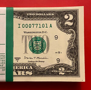 NEW 2017A $2 TWO DOLLAR BILL ( Minneapolis I ) Low Serial Number, Uncirculated