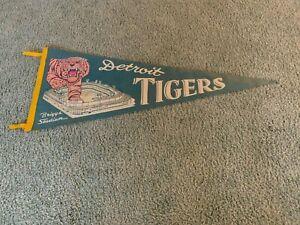 "1940s Detroit Tigers Baseball Logo Briggs Stadium Felt Pennant Full Size 30"""