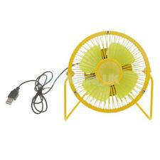 4'' Mini Desk Table Laptop Cooler Cool Fans Desktop Small USB Powered Yellow