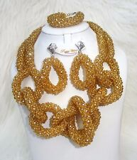 Cheap Gold Ring Design Party African Crystal Beads Jewellery Set