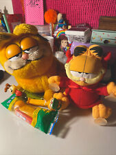 Garfield Lot (2 Plushies And 3 Vintage Pez Dispensers