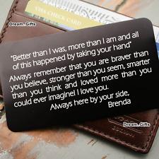 Wedding Metal Wallet Insert Card Keepsake Gifts for Him Her Husband & Wife W13