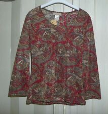 NEW SUSAN LAWRENCE RED & GOLD PAISLEY BLOUSE 3/4 SLEEVES & METALLIC ACCENTS SZ S