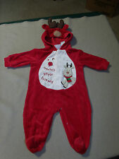 BABY 6/9 M CHRISTMAS RED FOOTED HOODED OUTFIT