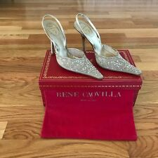 RENE CAOVILLA VENEZIA Gold Crystal/Beaded Women's Sling Back Shoes Sandal Sz 37