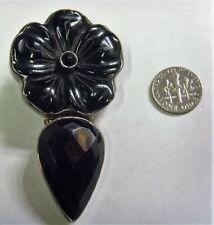 onyx goth mourning pendant Fv1622 sterling silver vintage exquisite large black