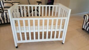 Wooden Baby Cot White with Mattress