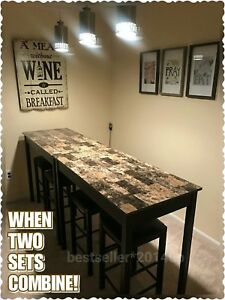 Black & Marble Counter Height Dining Table Set of 3 Piece Bar Pub Kitchen Stools