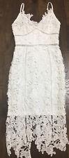 Charlotte Russe Crochet Net Overlay Sheer Panel White Dress Size XS Women's