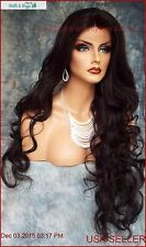 LONG WAVY HAND TIED LACE FRONT WIG CLR #2 *STUNNING EYE CATCHING USA SELLER 389