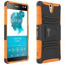 For Sony Xperia C5 Ultra Belt Clip Case Neon Orange / Black Holster Hybrid Cover