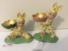 Set Of 2 Katherine's Collection Retired Easter Bunny Rabbit Children Display