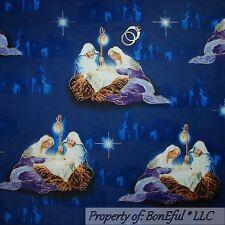 BonEful Fabric FQ Cotton Quilt Blue Manger Scene Xmas Bethlehem Star Baby Jesus