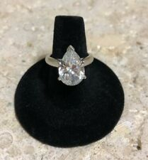 Shape Simulated Diamond 6ct sz 7 Solid Platinum Comfort Fit Solitaire Pear