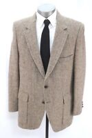 vintage beige brown herringbone HARRIS TWEED blazer jacket sport suit coat 44 R