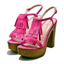 Designer Sandals by Mimi Shoes in Pink Nubuck Size 7 Platform Heels Euro 40