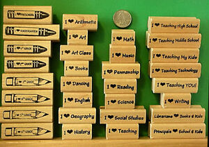 """""""I Love"""" Selection for Teachers, Librarians, and Principals, wood mounte stamps"""