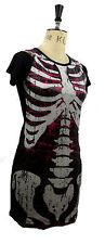 XS Skeleton Sequin Dress Black Pink Mini Dress Long Top