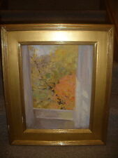 LISTED AMERICAN LAWRENCE WILBUR IMPRESSIONISM VIEW FROM WINDOW OIL PAINTING