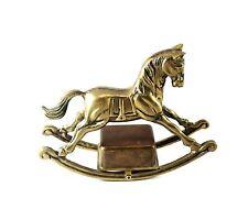 Vintage Solid Brass Ornate Rocking Music Horse Figure Home Decor Figurine