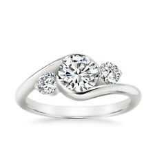 1.40 Ct Round Cut Diamond 14K Solid White Gold Engagement Rings Size 7 6.5 6 5 4