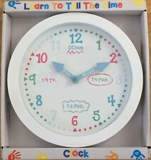 Learn To Tell The Time Children's White Wall Clock