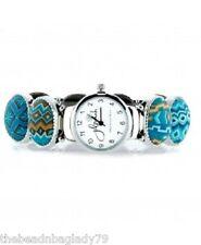 NEW JILZARA Premium Inlaid Clay Beads AZTEC BLUE Multi Color OVAL Watch