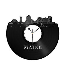 Maine Vinyl Wall Clock City Skyline Gift for Office Home Vintage Room Decoration