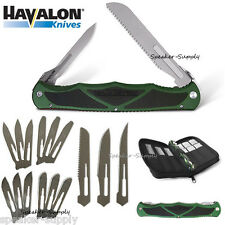 Havalon Knives Hydra Green Double Bladed Folding Knife w/ 17 Blades Case HYDHGBS