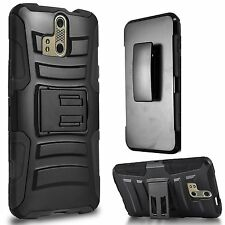 For Zte Axon Pro A1P Rigid Hard Shell Belt Clip Holster Cover Case Black
