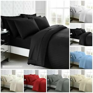 100% Egyptian Cotton Satin Stripes Duvet Covers 200 TC Fitted or Flat Sheets GC