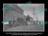 OLD LARGE HISTORIC PHOTO OF TERRE HAUTE INDIANA, THE HOME & ICE Co TRUCKS c1920