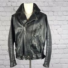 Vintage Leather Motorcycle Jacket c. 1960 Size 46