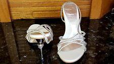 SEXY STILETTO Heel w RING WHITE Sandals Shoes RHINESTONE JEWELS Varanni 7.5 NIB!