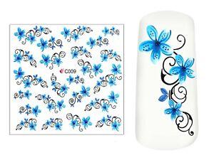 Nail Art Wasser Transfer Tattoo Sticker Aufkleber für Nageldesign C009 Blumen