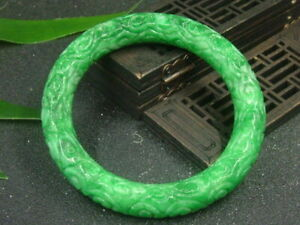 Chinese Antique Nephrite Grade A Jade seas of clouds bangle Bracelet QING DY.