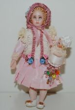Antique Doll With Toy Dollhouse Miniature Reproduction