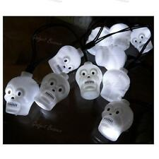 12 LED Skull String Lights, Hanging Halloween Party Decoration, Battery Operated