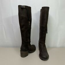 Steve Madden Antsy Brown Suede Leather Knee High Boots Block Heel Size 9