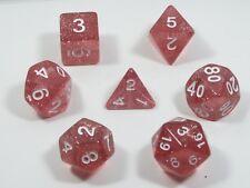 RPG Dice Set of 7 - Glitter Red Grapefruit D4 D6 D8 D10 D12 D20 D00-90