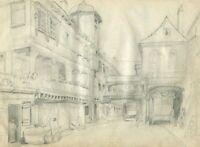 19th Vintage Pencil Drawing - Old Masters, Dessin Ancien - Landscape, City