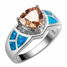 Art Deco Style Morganite Blue Fire Opal Silver Ring Size 7 Gift