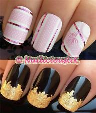 NAIL ART SET #165 POLKA DOT BOW/STRIP WATER TRANSFERS/DECAL/STICKERS & GOLD LEAF