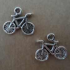 PJ110 20pcs Tibetan Silver Charms 2-Sided bicycle retro Accessories Wholesale